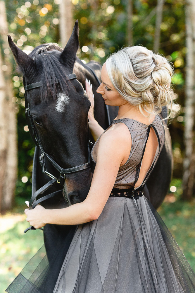 Bridal Hair in Hampshire | Stunning countryside bride in black dress with hair by Michelle Crosser