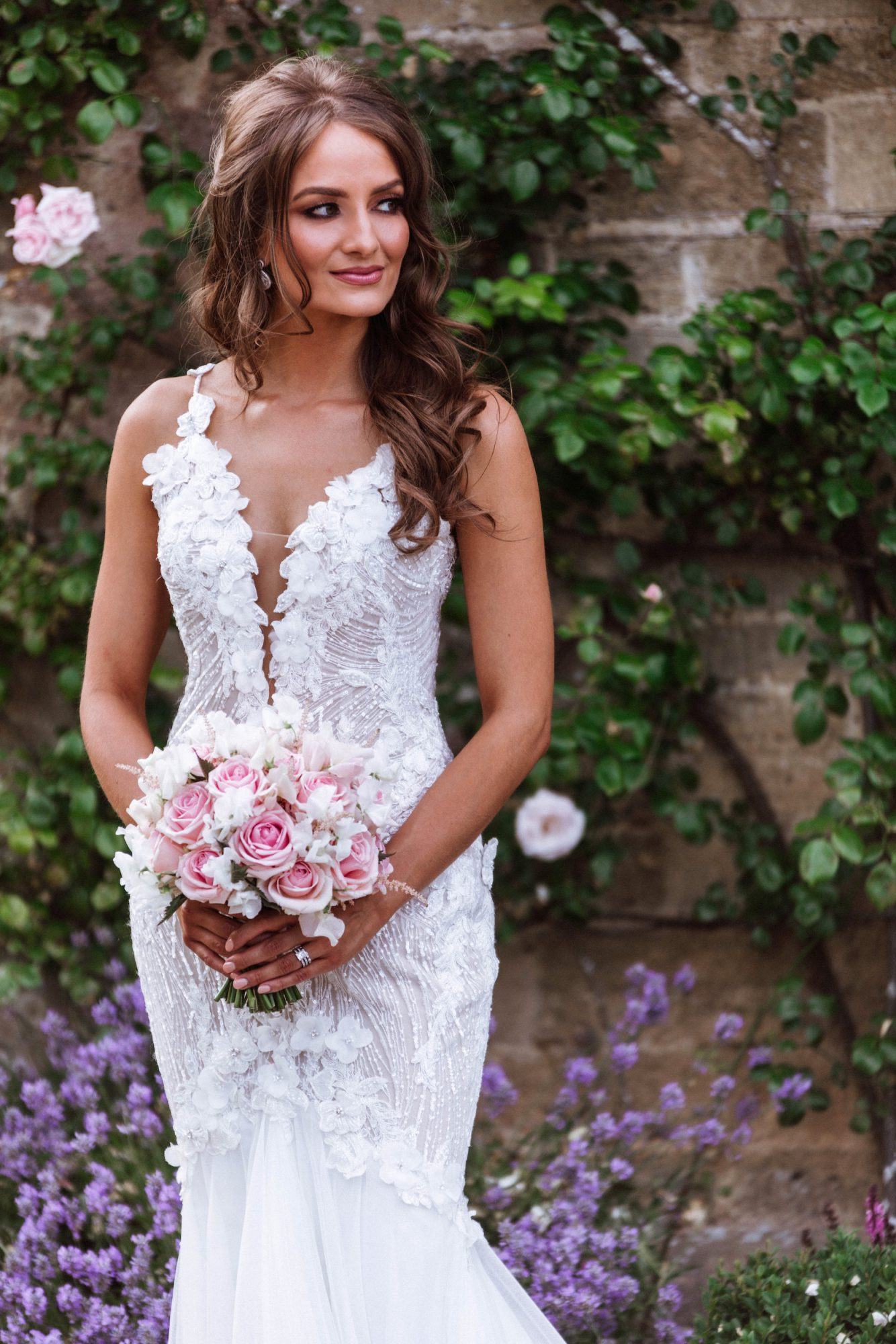 Bridal Hair in Hampshire | Hampshire Bride in beautiful lace dress | photograph by Cooper Photography