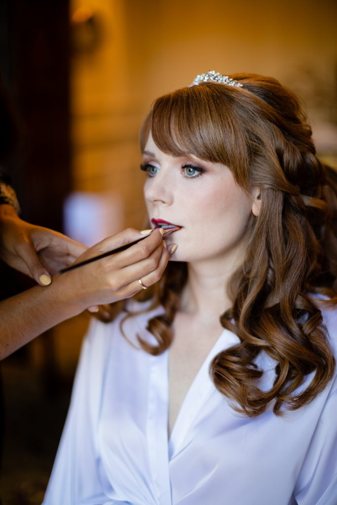 Bride having her hair and make-up done by Bridal Hair in Hampshire