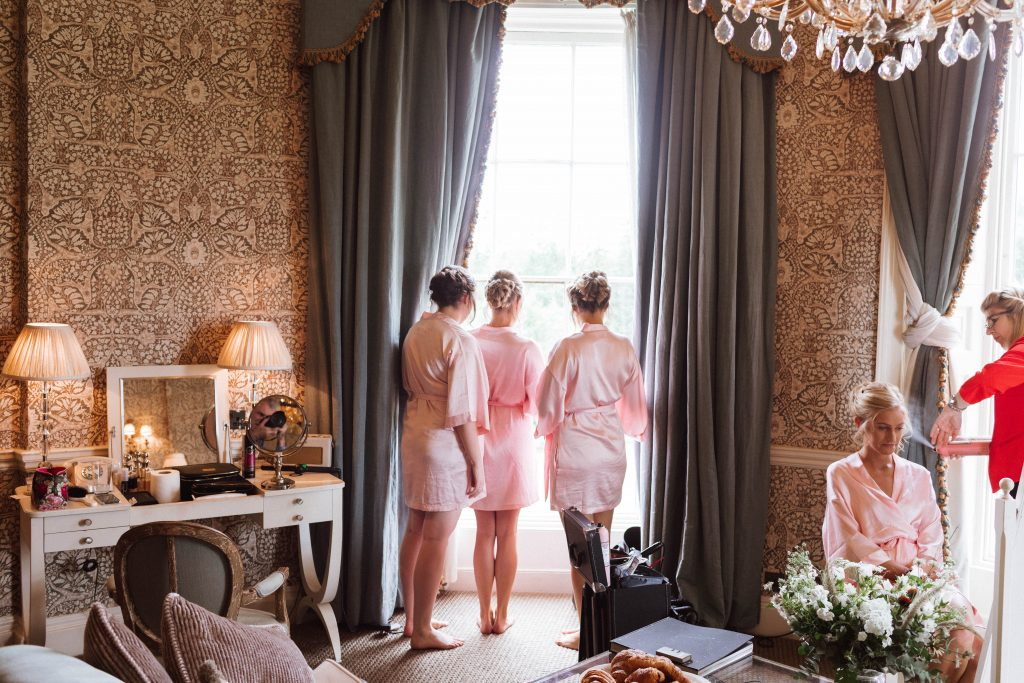Bride and bridesmaids having their hair styled by Bridal Hair in Hampshire