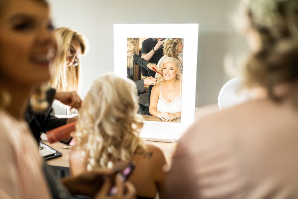Bride having her hair styled by Bridal Hair in Hampshire