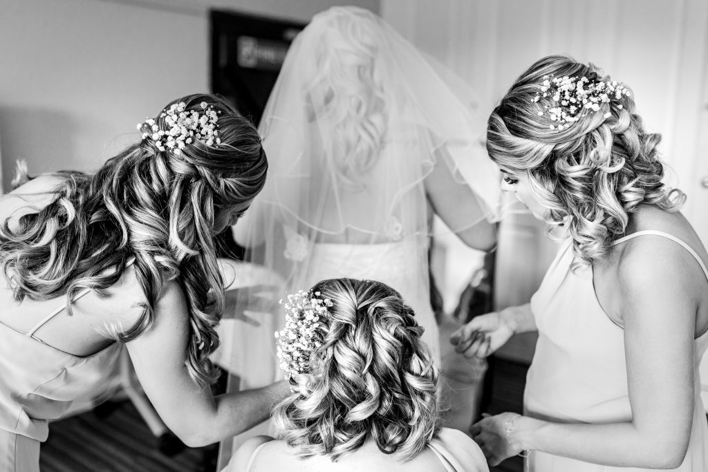Bride and bridesmaids hair styled by Bridal Hair in Hampshire