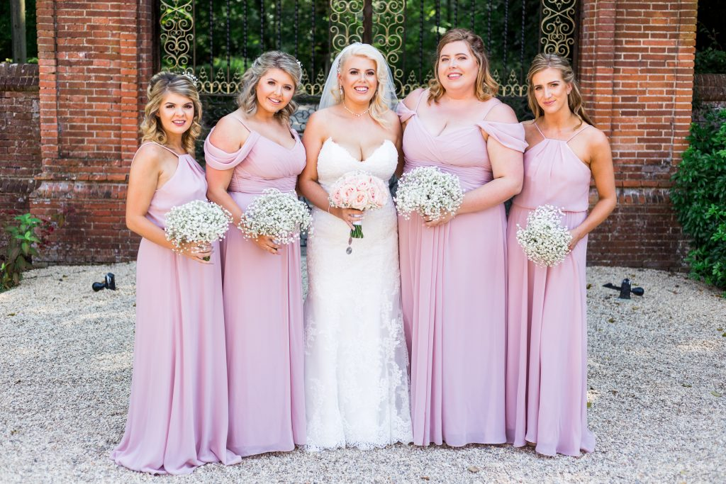 Bride and bridesmaids styled by Bridal Hair in Hampshire