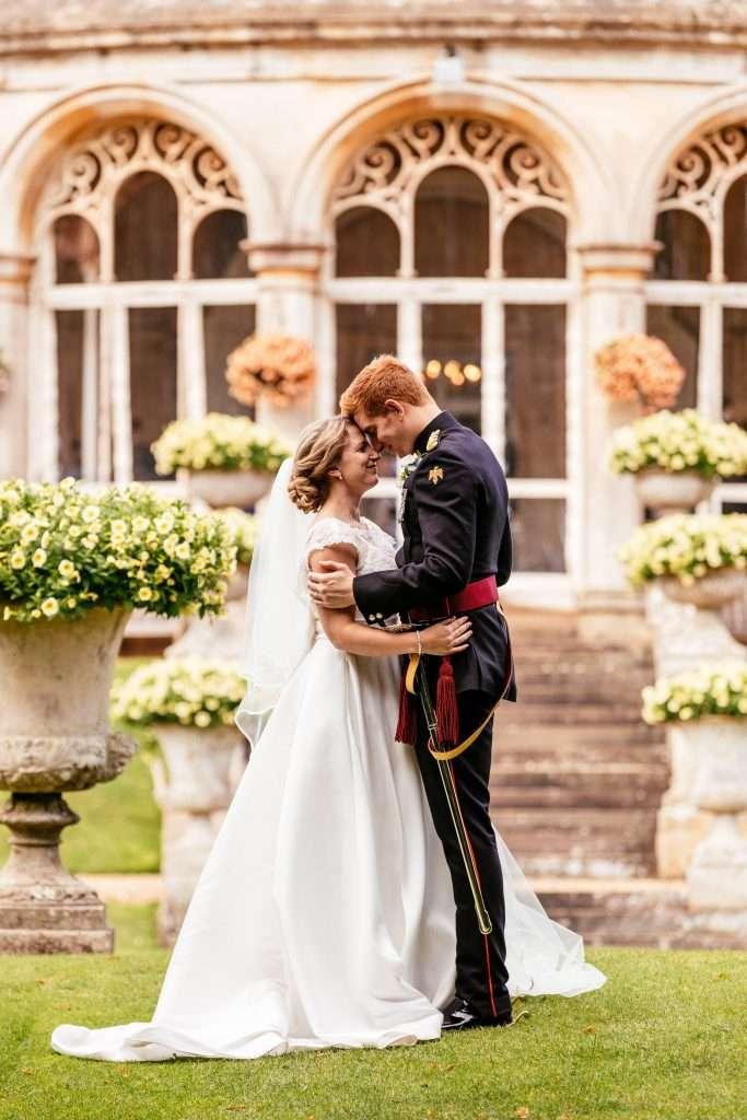 Rhinefield House bride and military groom