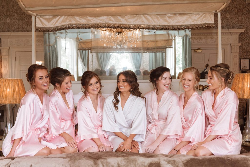 Brides and Bridesmaids after getting their bridal hair styled by Bridal Hair in Hampshire