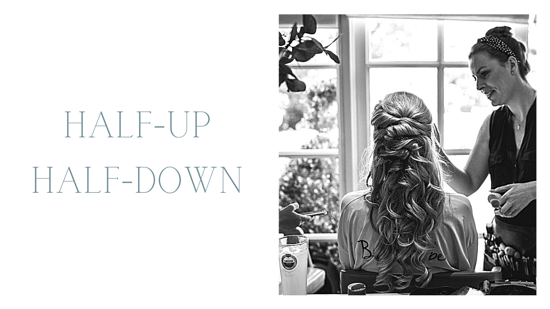 Black and white image of blonde bride with half up half down hairstyle blog header